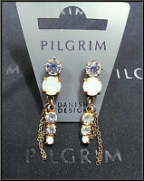 NEW PILGRIM GOLD EARRINGS CRYSTALS AB HANDMADE VINTAGE JEWELRY DROP DANGLE CHAIN
