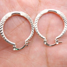 925 Sterling Silver Plated Women Fashion Hoop Dangle Earring Studs Jewelry HE003