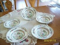 Saxon Vintage China Oriental Pattern 5 Large Soup Bowls (Saxon) Embossed