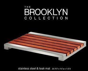 "Conair Teak Stainless Steel Bath Mat The Brooklyn Collection   20.75"" L x 14"" W"