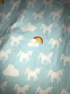 Circo Target Full Flat Flannel Unicorn Rainbows Clouds Bed Sheet Bedding Fabric
