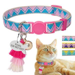 Breakaway Pet Puppy Kitten Cat Collar Personalized Dog ID Tags Tassel Pendant
