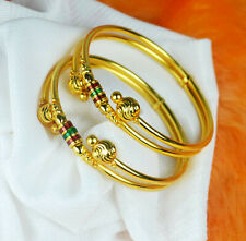 """Gold Plated Women Kada Bracelets Indian Traditional Bangles 2.625 inch 2.10""""size"""