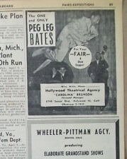 Clayton Peg Leg Bates 1952 Ad- The One and Only/Hollywood Theatrical Agency