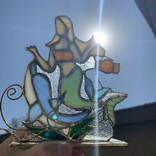 Leaded Stained Glass Mermaid w/Dolphin Tea Light Candle Holder, Suncatcher 7.5�