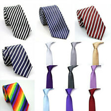 Mens Tie Solid Striped Pattern Tie Wedding Party Formal Casual Slim Necktie Gift