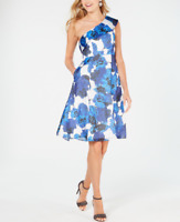 Adrianna Papell Blue Floral-Print One-Shoulder Dress Women's Size US 12 84053