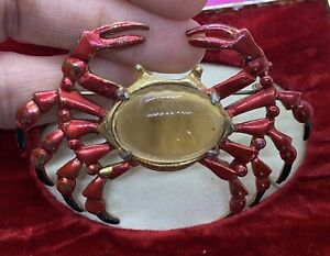Vintage Unsigned Coro ? Glass Belly Red & Black Enamel Crab Brooch
