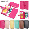 For Apple iPhone 8 Plus Double Mobile Phones Zip Purse Wallet Leather Case Cover