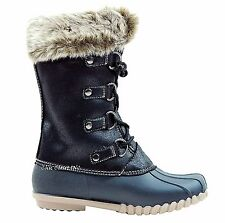 Women Tall Mid Calf Riding Faux Fur Lining Rubber Lace Up Snow Winter Boots