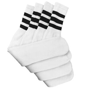 """4 Pairs White Tube Socks with Black Stripe Cotton 24"""" Inches Long"""