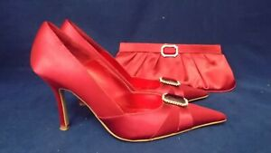 DUNE UK 6 RED SATIN POINTED TOE COURT SHOES & MATCHING CLUTCH BAG