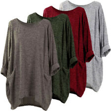 Women's Casual Solid Blouse Shirt Tops Batwing Sleeve Loose Asymmetrical Jumper