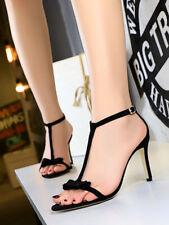 Fashion Women Suede T-Strap Bow Open Toe Platforms  Heel Buckle Sandals Party