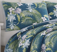 Full/Queen 3-PC Tropical Exotic Floral Teal Blue Quilt Set Tommy Bahama Bedding