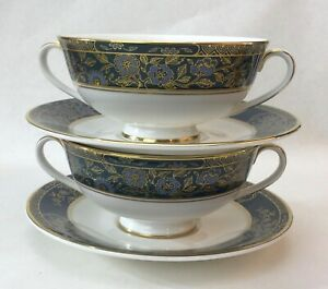 PAIR (2) ROYAL DOULTON CARLYLE CREAM SOUP BOWLS AND SAUCERS