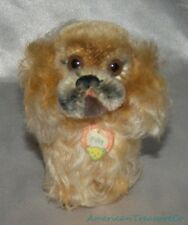 "Vintage 50s Steiff Mohair Plush 5"" 12 cm Peky Pekinese Dog w/Pendant Swivel Head"