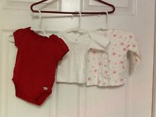 Infant girls 3 piece lot red onesies floral snap front jacket & white t shirt 50