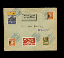 Switzerland 1924 Airmail Flugtag Grenchen flight cover w/ rare vignette variety