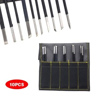 10Pcs Manganese Steel Chisel Set Stone Carving Artist Woodworkers Tools Set
