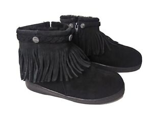 Minnetonka Black Suede Womens Ankle Boots Size 5 M. Zipper Pre-Owned