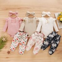 Winter Toddler Baby Girls Ruffles Romper Bodysuit+Floral Pants Outfit Clothes