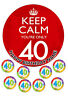 """40th BIRTHDAY CAKE TOPPER ROUND EDIBLE ICED ICING 7.5"""" + 8 CUPCAKE TOPPERS"""