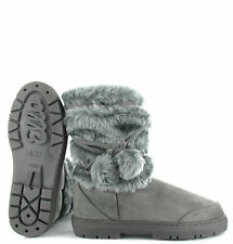 Ella womens ladies girls ankle flat faux fur lined boots warm winter sizes 3-9