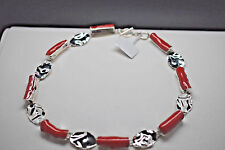 925 Sterling Silver Abstract Shaped Coral Necklace w/ Oval Silver Links Toggle