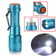 High-power 20000LM Zoomable 3mode T6 LED Flashlight 14500/AA Blue Camping Lamp