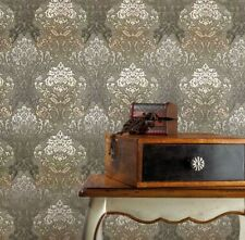 Paper Wallpaper roll wall coverings vintage damask olive green beige textured 3D