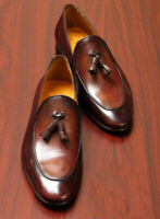 Handmade Men's Genuine Brown Leather Tassels Loafers & Slip Ons Mocassins Shoes