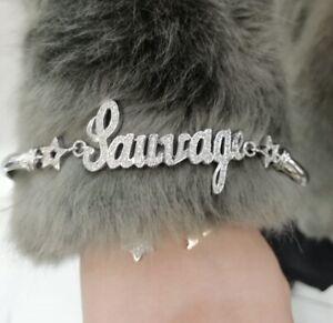 Bracciale argento 925 con nome zirconi brillanti semirigido gioielli donna rodio