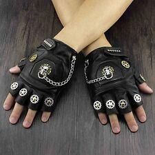 New Steampunk Skull Gears Mens Genuine Leather Fingerless Gloves