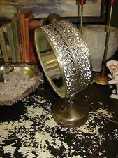 Vtg Casco Ornate Brass Tone Metal Electric Pivots Vanity Makeup Mirror Light