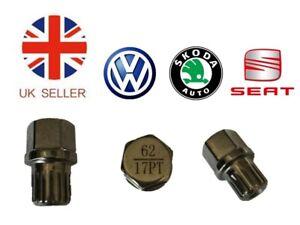 Vw Seat Skoda Locking Wheel Nut Key No.62 with 17 Flat splines