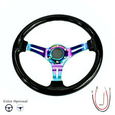350mm ABS Deep Dish Racing Steering Wheel 14'' Drifting Neo Chrome & Black