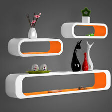 Floating Wall Shelf Shelves Storage Lounge Cube Mounted Display MDF Wood U057 White-orange