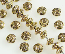 50 X Antique Gold Bicone Tibetan Style Spacer Beads 6.5 X 4 Mm