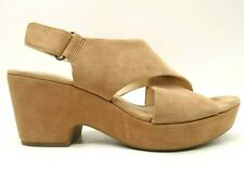 Clarks Brown Leather Adjustable Slingback Block Heel Sandals Shoes Women's 9.5 M