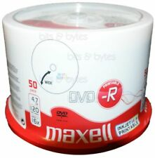 50 x Printable Maxell DVD-R Blank Recordable Discs DVDs Print SPINDLE - 50 Pack