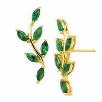 2 ct Natural Emerald Leaf Climber Earrings in 10K Gold