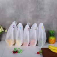 5pcs/Set Shopping Storage Mesh Bag Reusable Drawstring Fruit Produce Bags Pouch