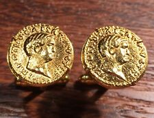 Ancient Roman Emperor Otho 69 AD Gold Plated Rome Coin Cufflinks + Gift Box!