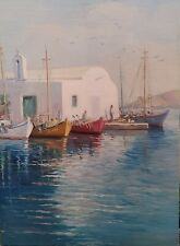 ANTIQUE OIL ON CANVAS ITALIANPAINTING OF THE FISHING BOATS 34 1/4 X 25 INCHES