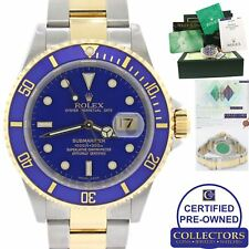 PAPERS Rolex Submariner 16613 Two Tone Steel 18k Gold Blue SEL No Holes Watch C8