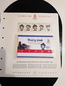 Briefmarkenheftchen Olypiade China 2008