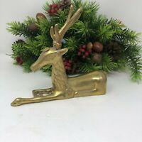 "Vintage Brass Sitting Deer Doe Buck Reindeer Christmas Decor 6 3/4"""