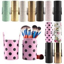 Portable Case Container Makeup Brush Holder PU Leather Pen Holder Cosmetic Cup