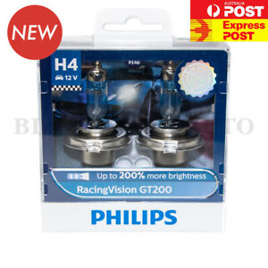 (ADR APPROVED) PHILIPS H4 +200% Racing Vision GT200 Halogen Headlight Bulb Globe